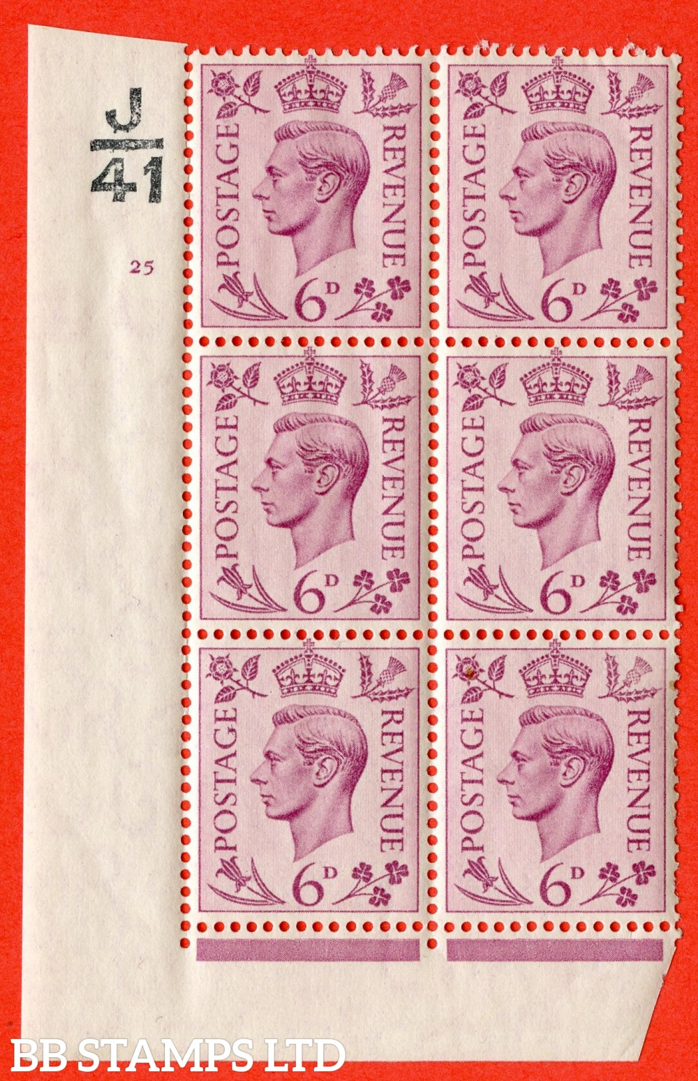 """SG. 470. Q22. 6d Purple. A fine lightly mounted mint """" Control J41 cylinder 25 no dot """" control block of 6 with perf type 2 E/I"""