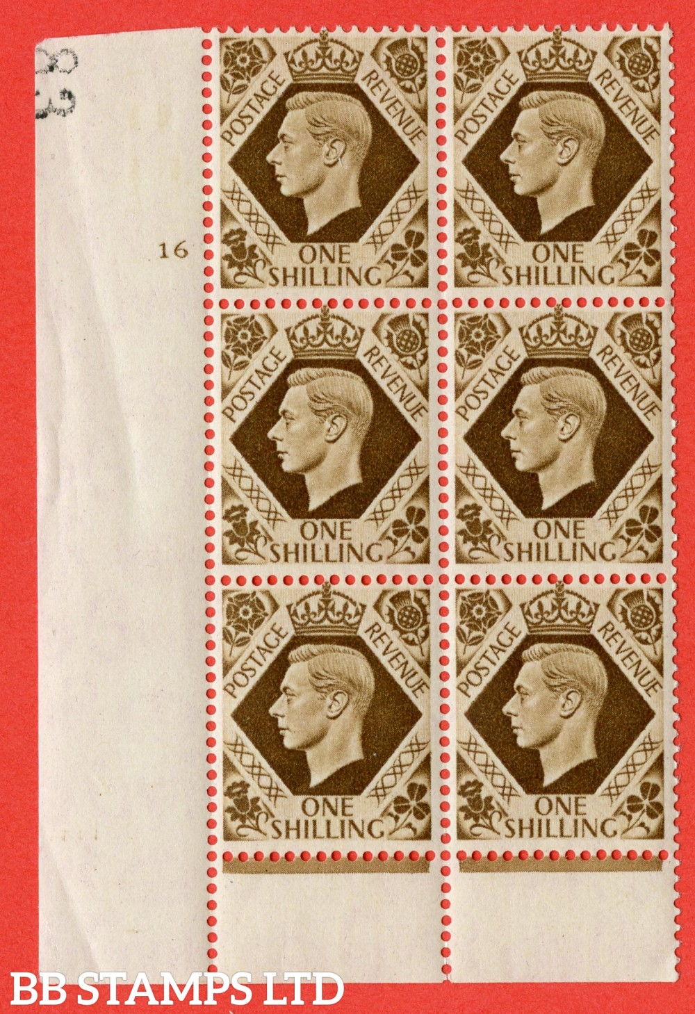 "SG. 475. Q28. 1/- Bistre-Brown. A fine lightly mounted mint "" No Control cylinder 16 no dot "" control block of 6 with perf type 6 I/P"