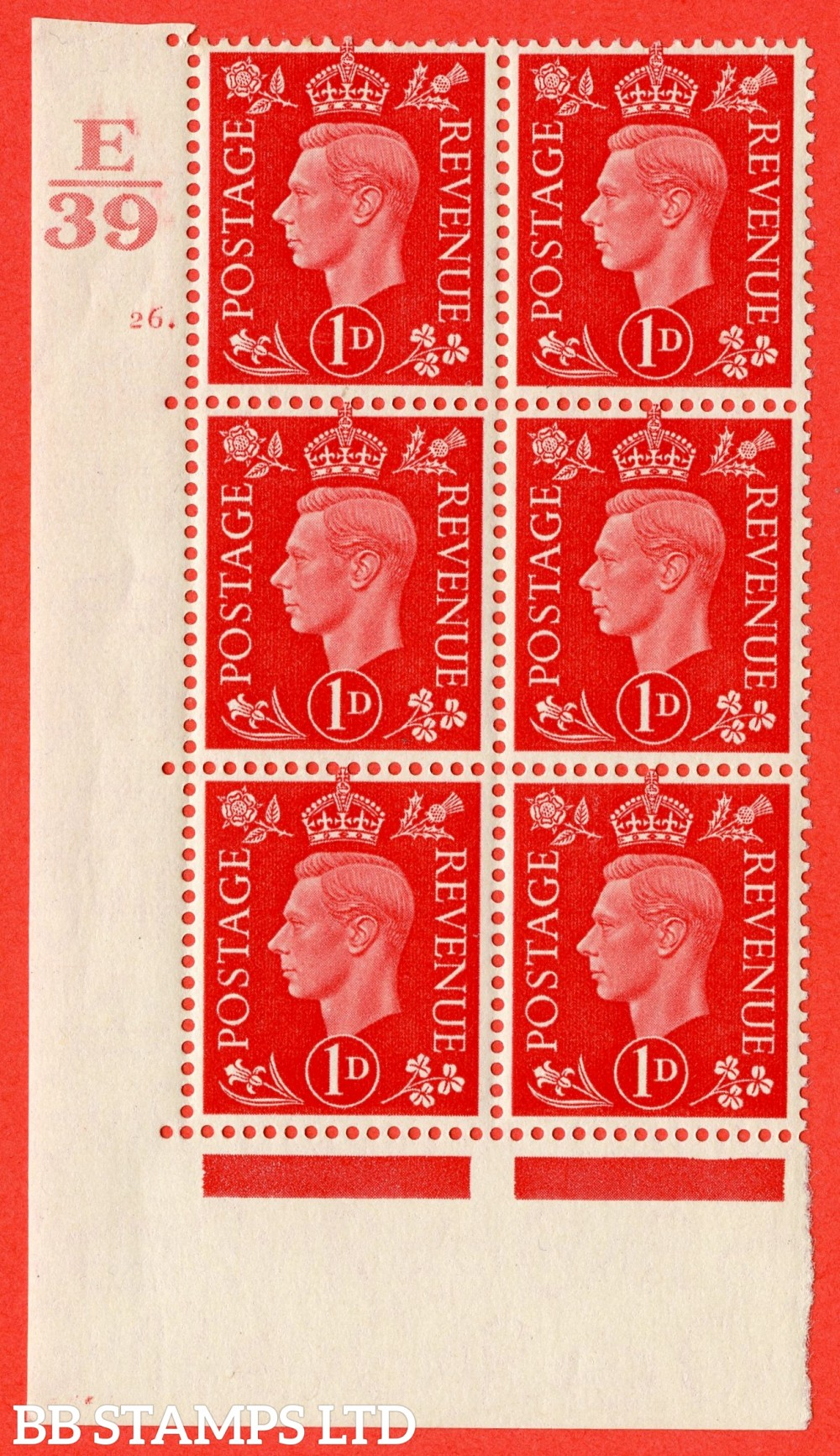 "SG. 463. Q4. 1d Scarlet. A superb UNMOUNTED MINT "" Control E39 cylinder 26 dot "" block of 6 with perf type 5 E/I with marginal rule."