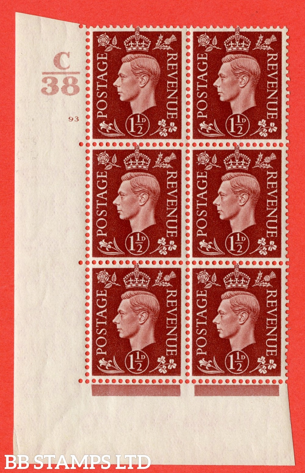 """SG. 464. Q7. 1½d Red-Brown. A superb UNMOUNTED MINT """" Control C38 cylinder 93 no dot """" block of 6 with perf type 5 E/I."""