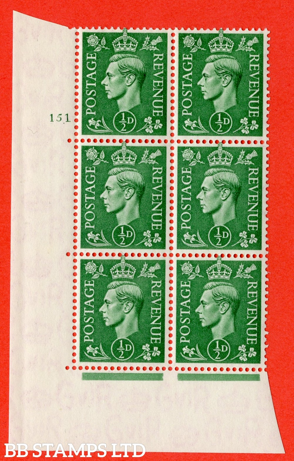 "SG. 485. Q2. ½d Pale Green. A superb UNMOUNTED MINT "" No Control cylinder 151 no dot "" block of 6 with perf type 5 E/I with marginal rule."