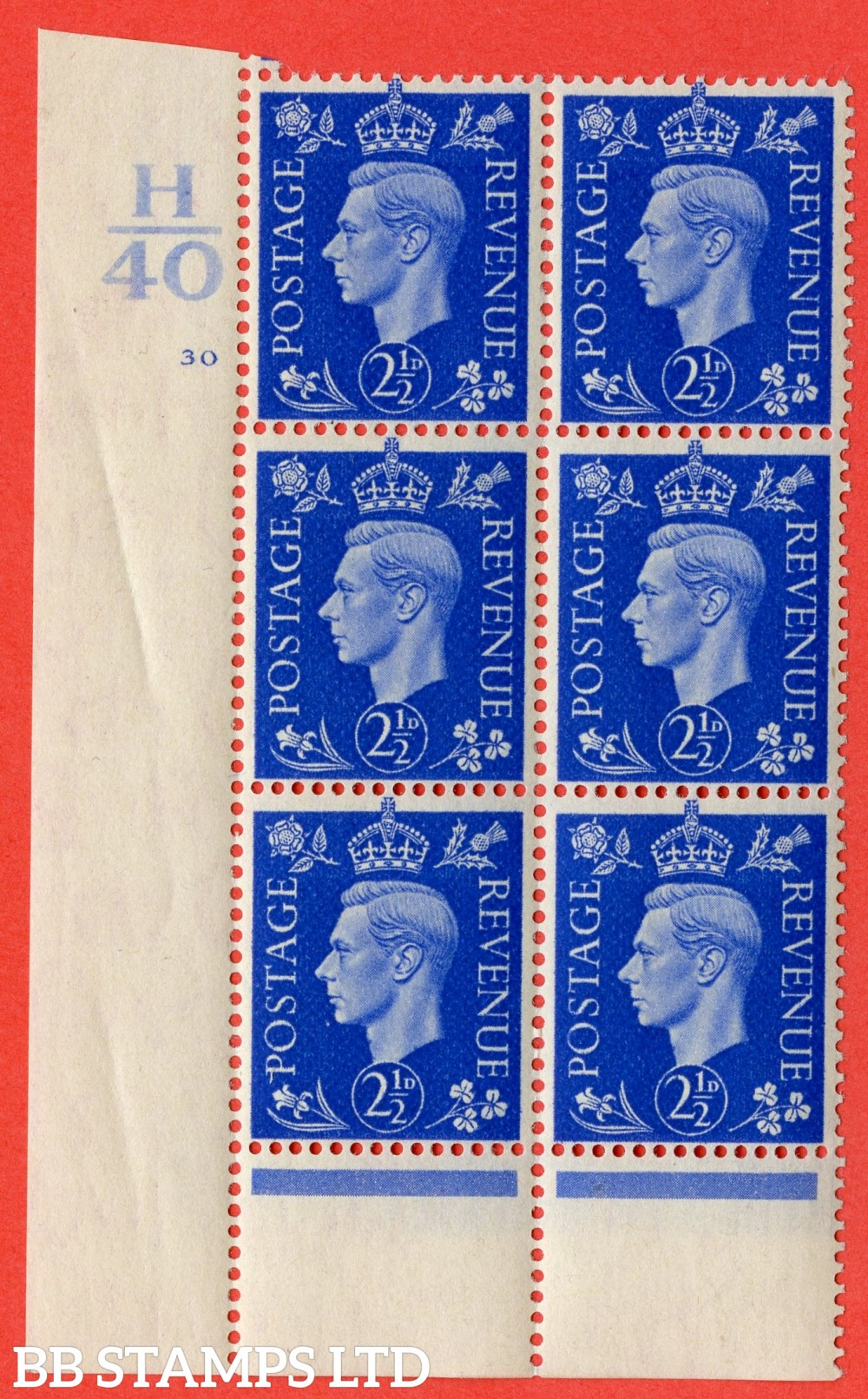 "SG. 466. Q13. 2½d Ultramarine. A superb UNMOUNTED MINT "" Control H40 cylinder 30 no dot "" control block of 6 with perf type 6 I/P."