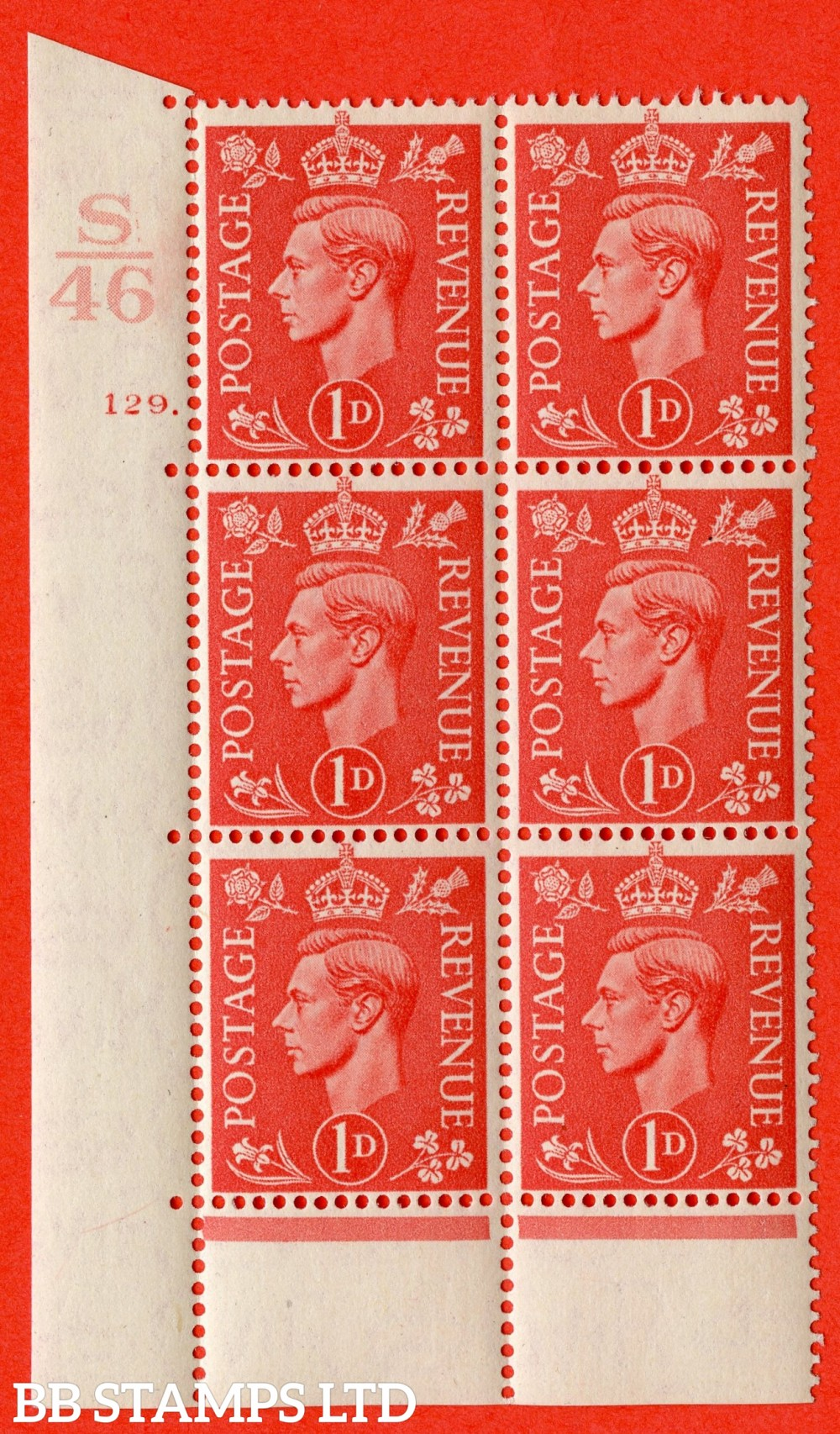 "SG. 486. Q5. 1d Pale scarlet. A superb UNMOUNTED MINT "" Control S46  cylinder 129 dot "" control block of 6 with perf type 6B E/P."