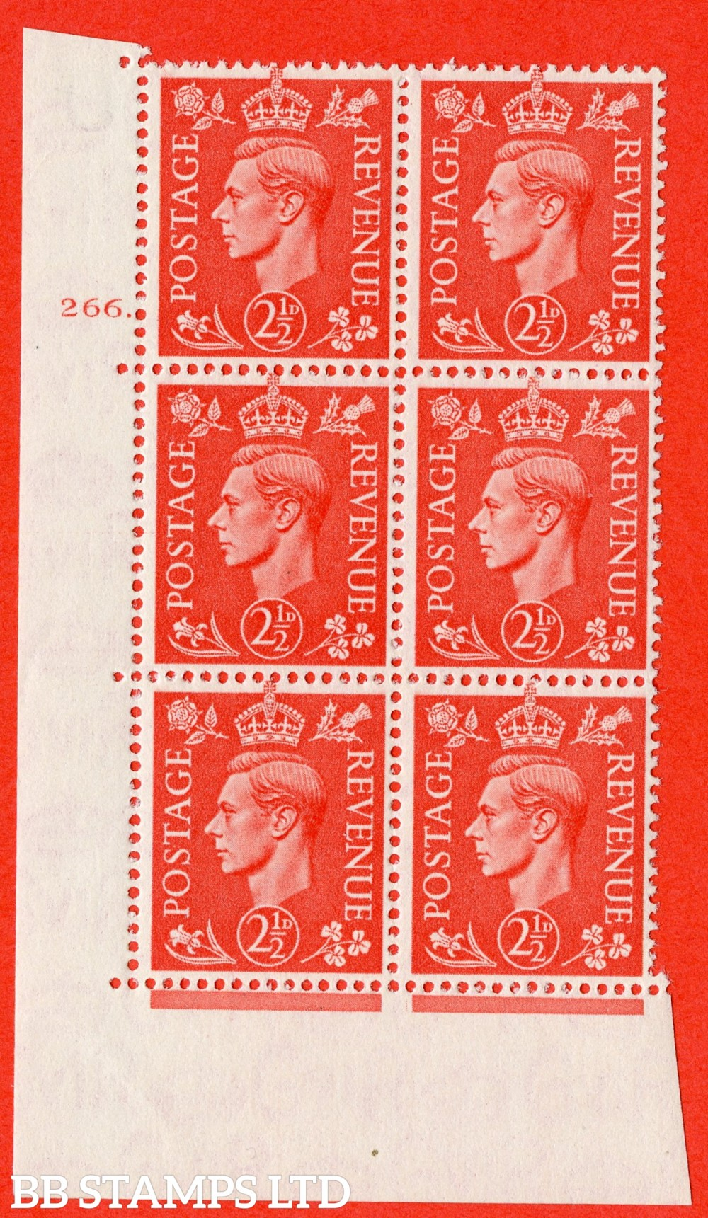 "SG. 507. Q15. 2½d Pale Scarlet. A superb UNMOUNTED MINT "" No Control cylinder 266 dot "" control block of 6 with perf type 5 E/I."