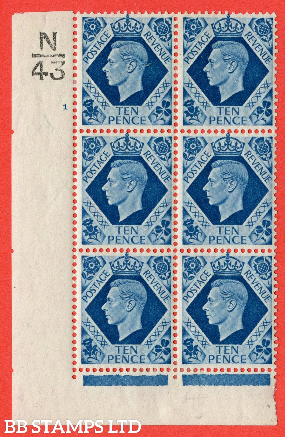 "SG. 474. Q26. 10d Turquoise-Blue. A fine lightly mounted mint "" Control N43 cylinder 1 no dot "" control block of 6 with perf type 2 I/E."