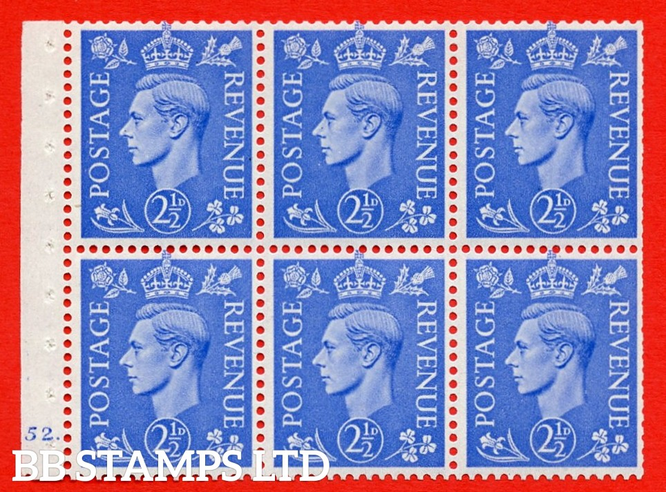 """SG. 489f. QB33. 2½d blue. A fine UNMOUNTED MINT complete Cylinder pane of 6 J52  dot. Perf type """"B6(IE)"""". Trimmed Perfs."""
