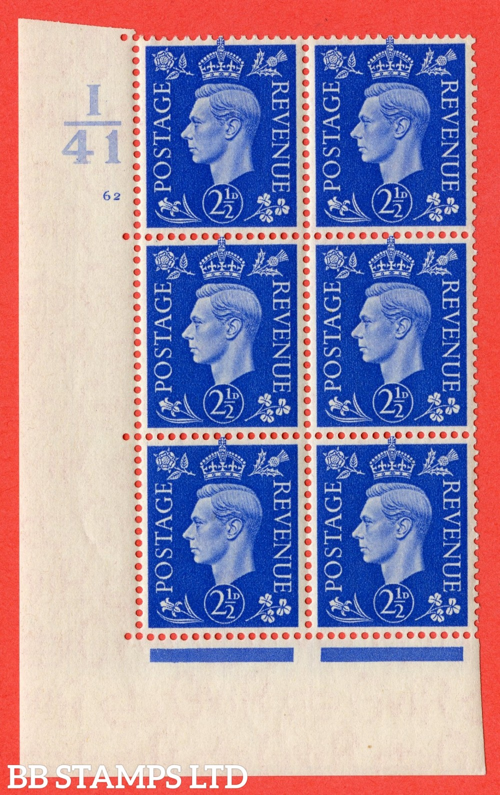 "SG. 466. Q13. 2½d Ultramarine. A fine lightly mounted mint "" Control I41 cylinder 62 no dot "" control block of 6 with perf type 5 E/I."