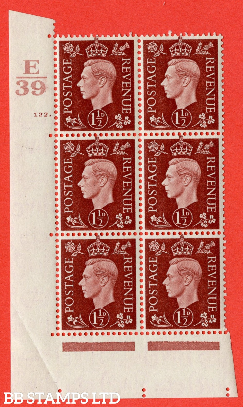 "SG. 464. Q7. 1½d Red-Brown. A superb UNMOUNTED MINT "" Control E39 cylinder 122 no dot "" block of 6 with perf type 5 E/I. Crease in margin."