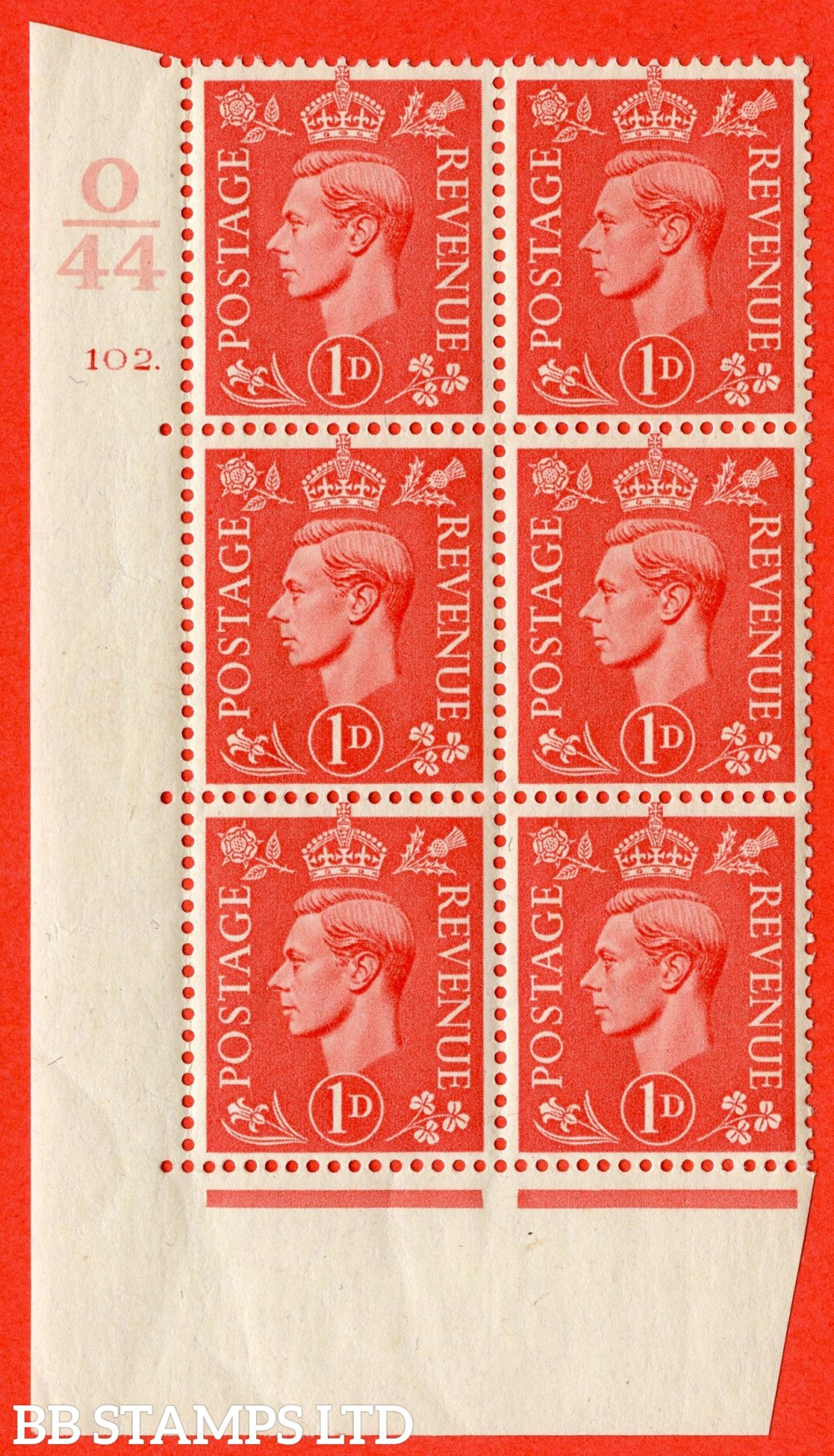 "SG. 486. Q5. 1d Pale scarlet. A superb UNMOUNTED MINT "" Control O44  cylinder 102 dot "" control block of 6 with perf type 5 E/I."
