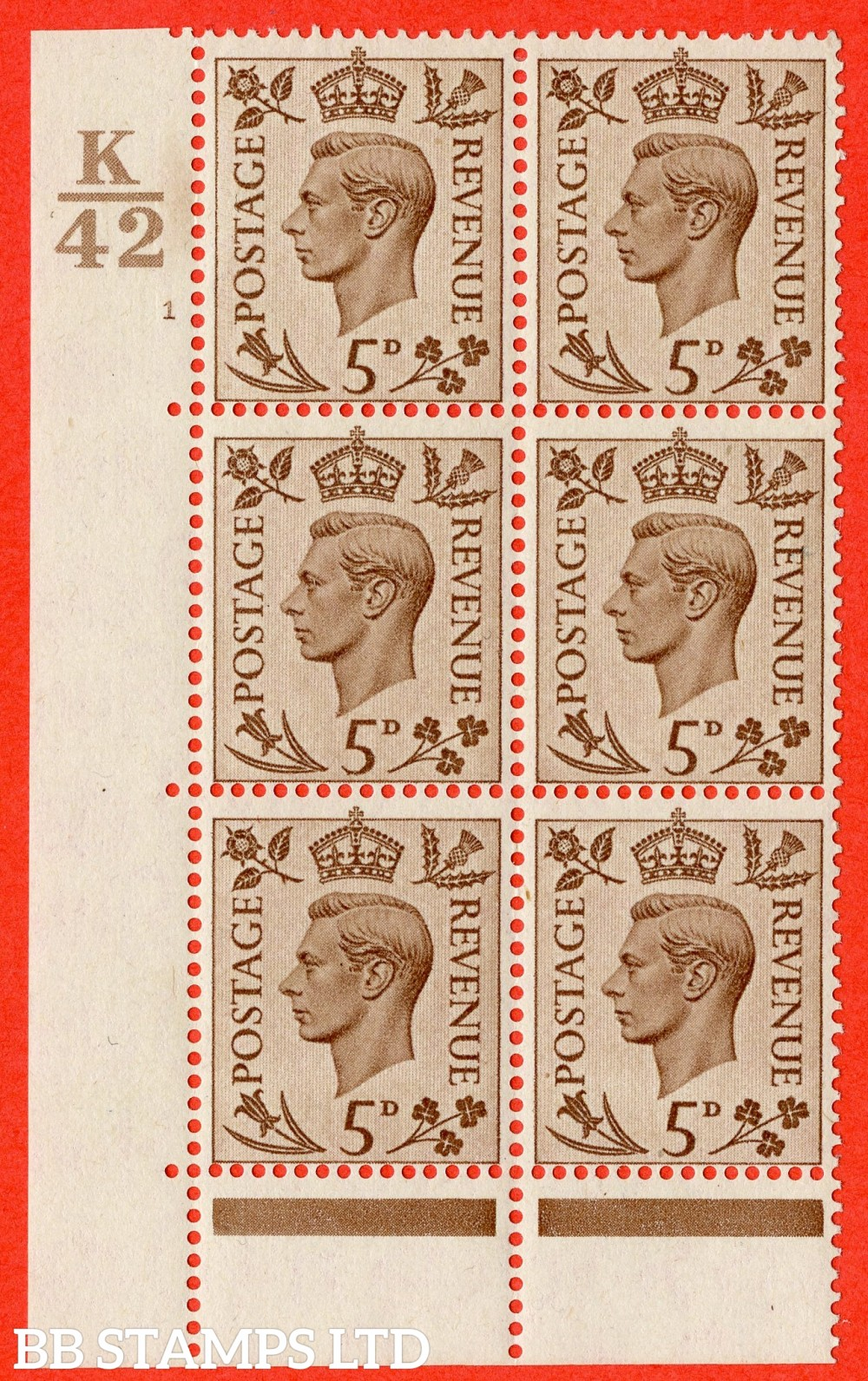 """SG. 469. Q21. 5d Brown. A fine lightly mounted mint.  """" Control K42 cylinder 1 no dot """" control block of 6 with perf type 6B E/P."""