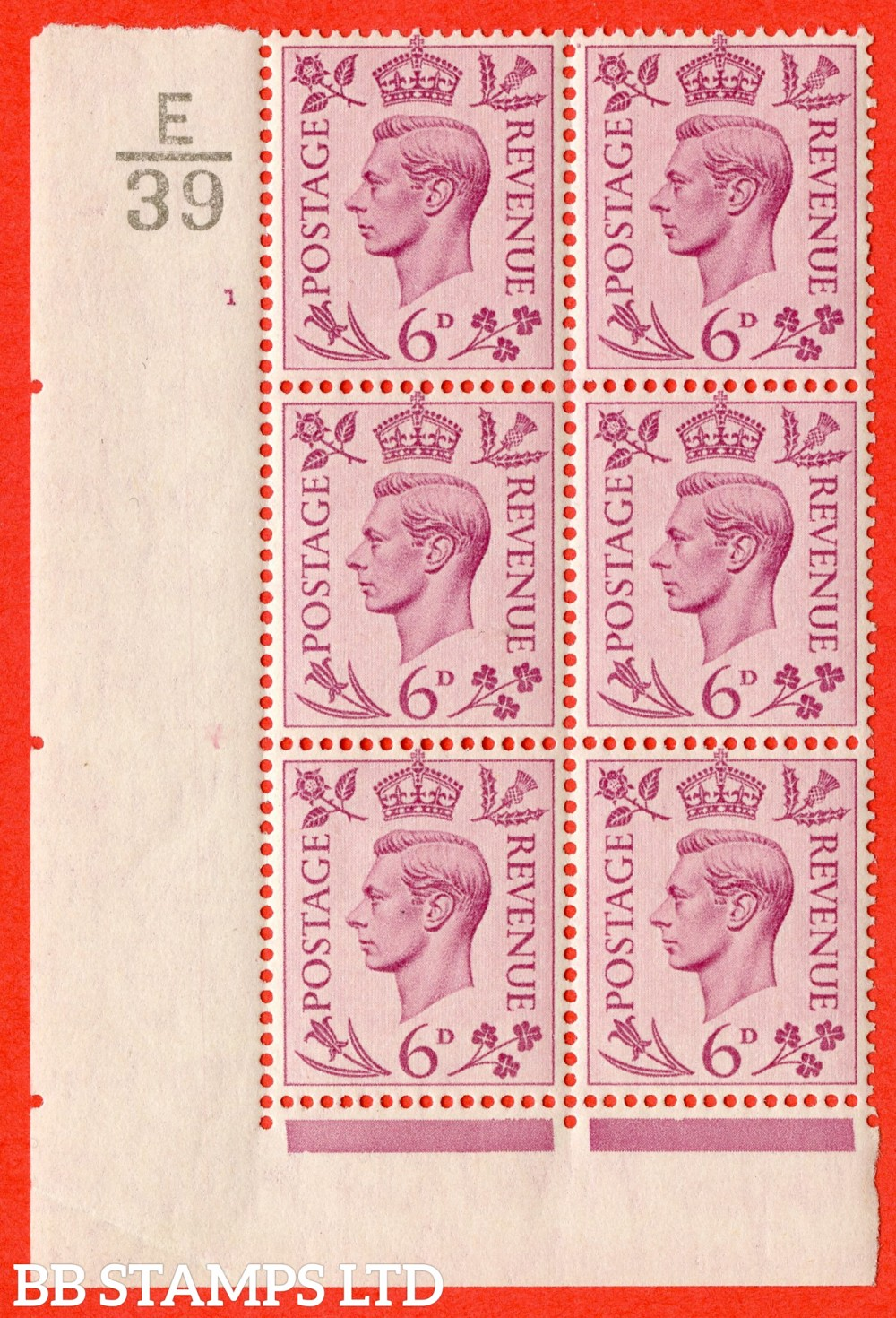 """SG. 470. Q22. 6d Purple. A superb UNMOUNTED MINT """" Control E39 cylinder 1 no dot """" control block of 6 with perf type 2 I/E."""