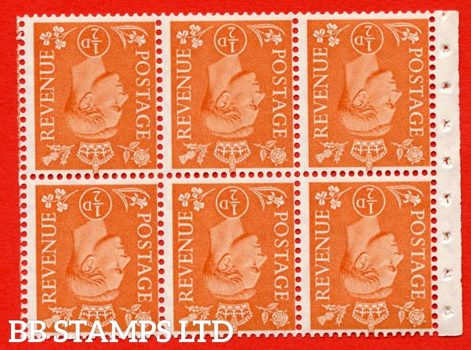 """SG. 503dw. QB7a. ½d orange. A fine UNMOUNTED MINT. INVERTED WATERMARK. complete booklet pane of 6. Perf type """" I """". Good Perfs."""