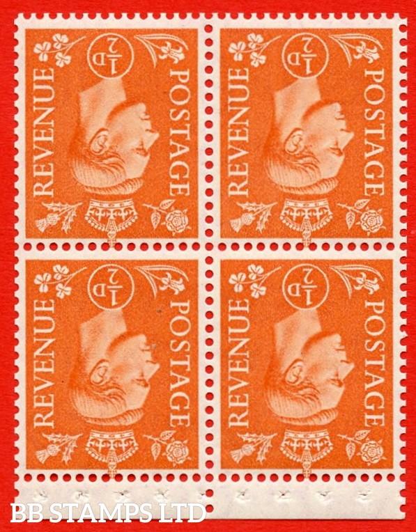 "SG. 503ew. QB8b. ½d orange. A fine UNMOUNTED MINT complete booklet pane of 4. Perf type "" P "". Good Perfs."