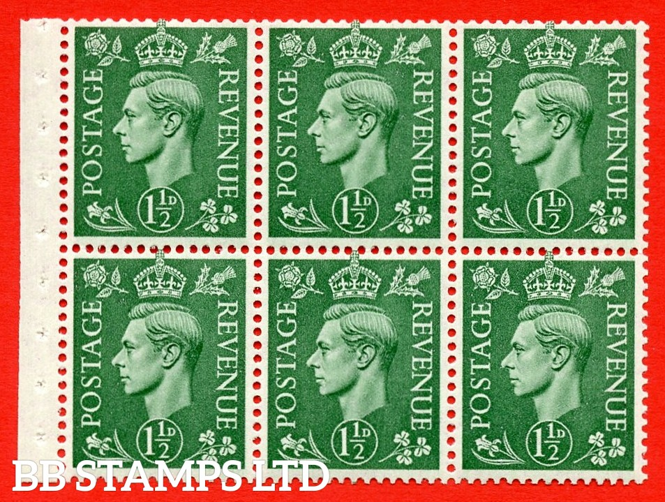 """SG. 505b. QB26. 1½d pale green. A superb UNMOUNTED MINT complete booklet pane. Perf type """" Iet """". Good Perfs"""