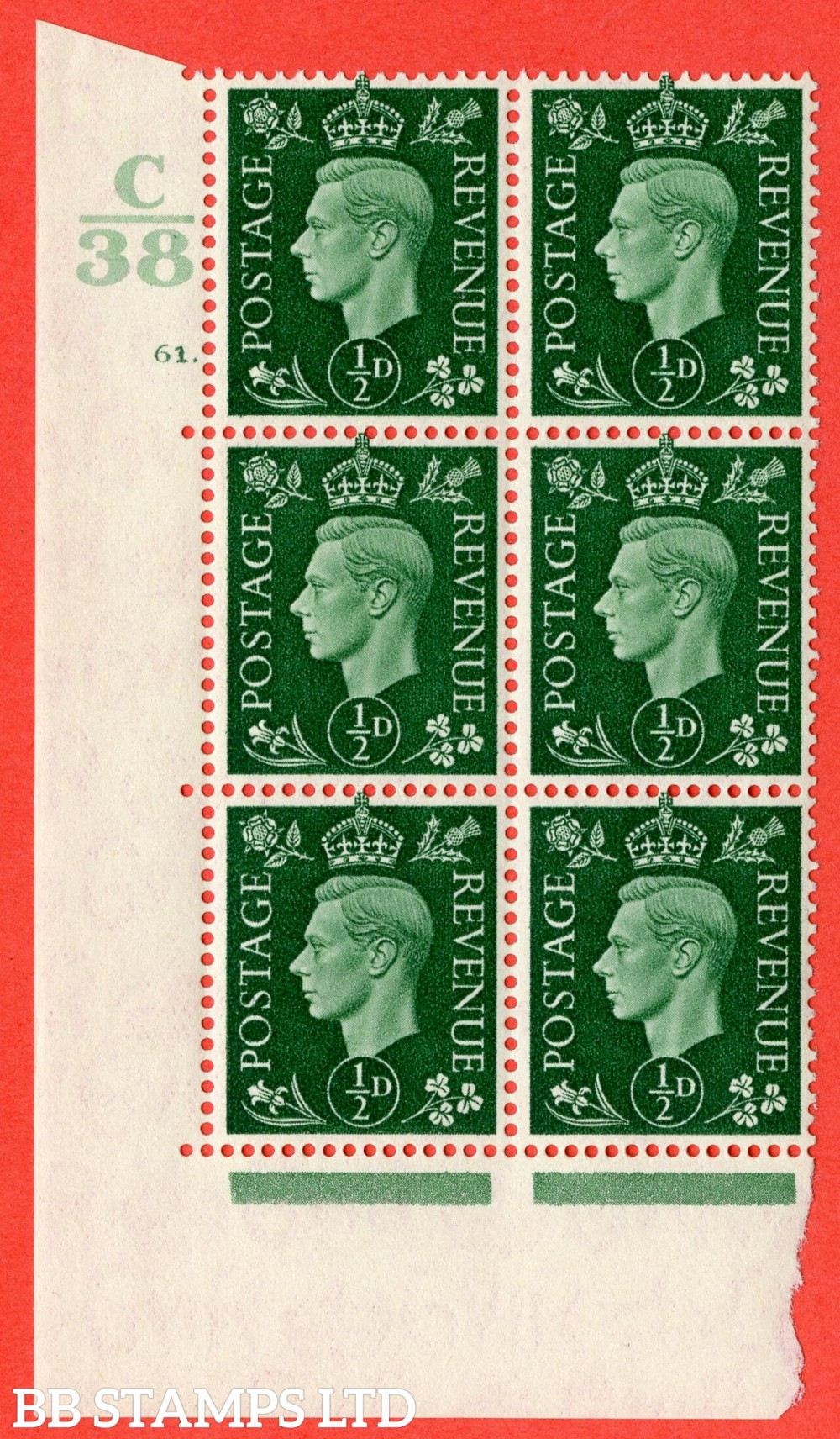"SG. 462. Q1. ½d Green. A superb UNMOUNTED MINT "" Control C38 cylinder 61 dot "" block of 6 with perf type 5 E/I."