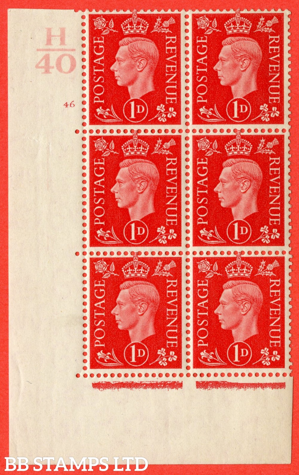 "SG. 463. Q4. 1d Scarlet. A superb UNMOUNTED MINT "" Control H40 cylinder 46 no dot "" block of 6 with perf type 5 E/I."
