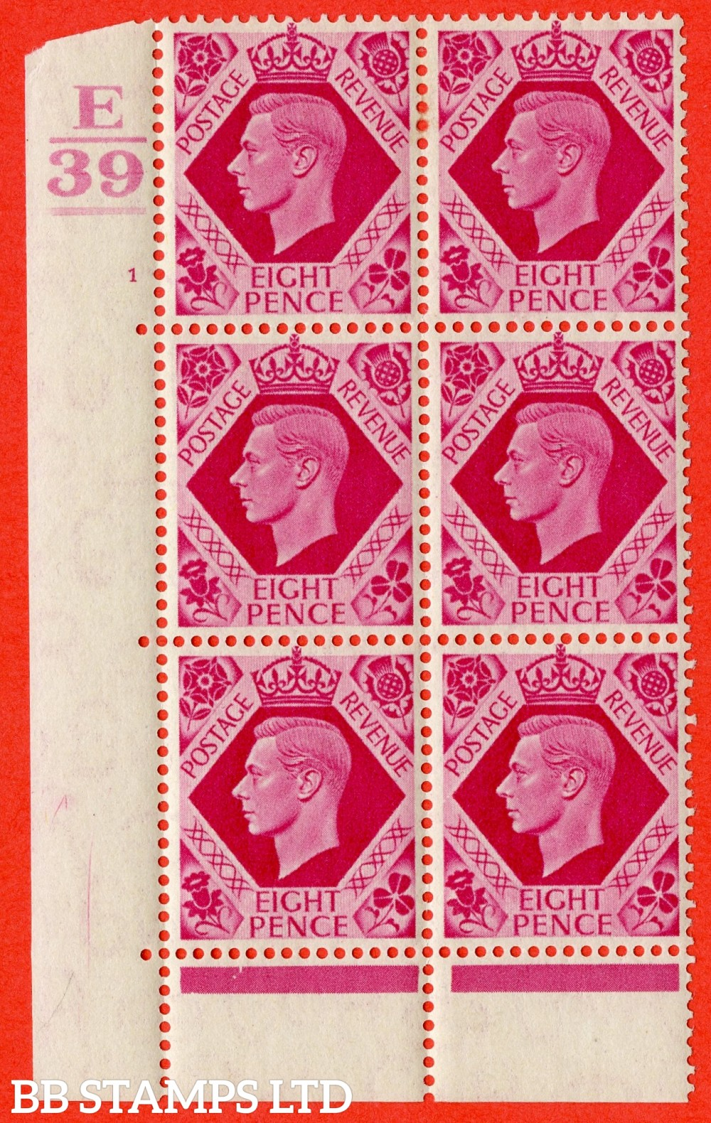 "SG. 472. Q24. 8d Carmine. A fine lightly mounted mint "" Control E39 Bar. Cylinder 1 no dot "" control block of 6 with perf type 6B E/P"