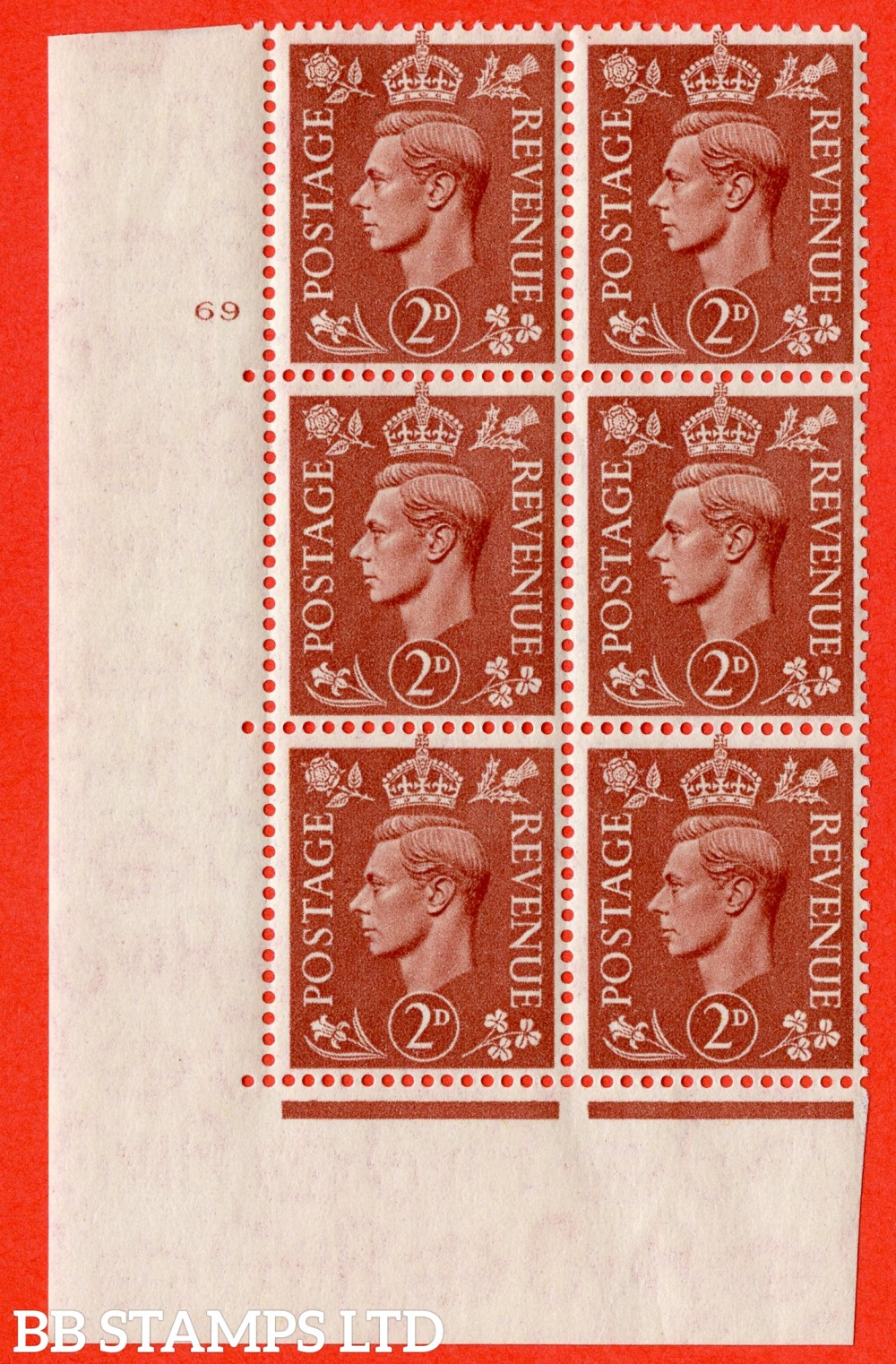 "SG. 506. Q12. 2d Pale Red-Brown. A superb UNMOUNTED MINT "" No Control cylinder 69 no dot "" control block of 6 with perf type 5 E/I."