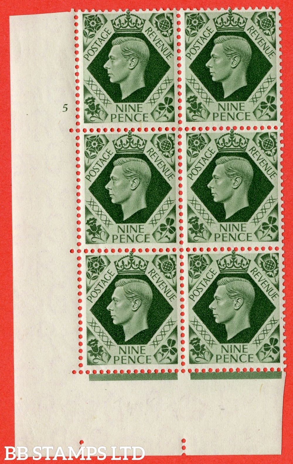 "SG. 473. Q25. 9d Olive-Green. A fine lightly mounted mint "" No Control cylinder 5 no dot "" control block of 6 with perf type 5 E/I."