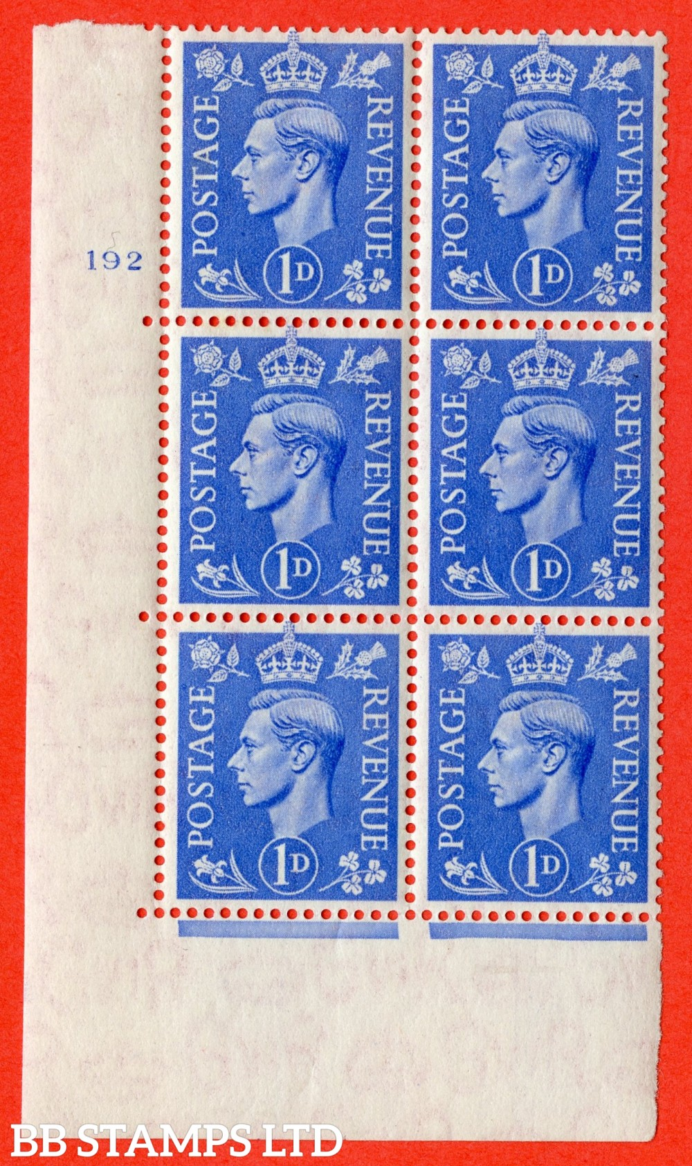 """SG. 504. Q6. 1d Light ultramarine. A superb UNMOUNTED MINT """" No Control cylinder 192 no dot """" control block of 6 with perf type 5 E/I."""