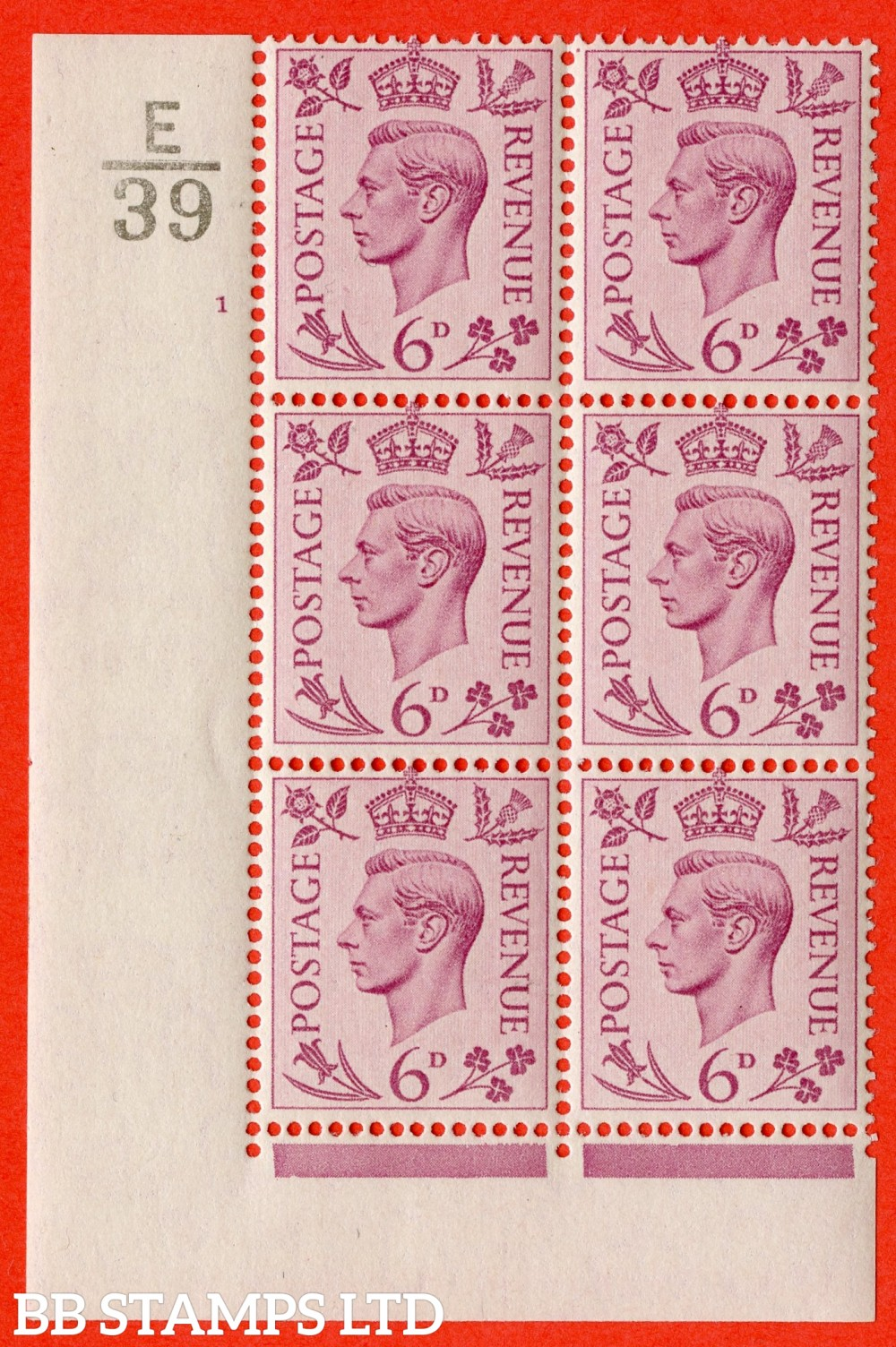 """SG. 470. Q22. 6d Purple. A fijne lightly mounted mint """" Control E39 cylinder 1 no dot """" control block of 6 with perf type 2 E/I."""