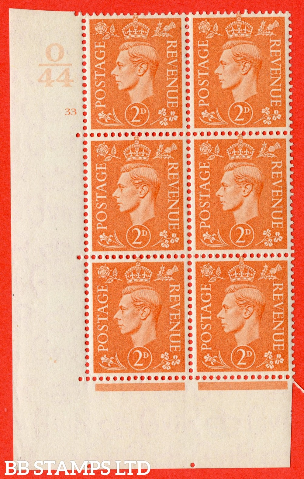 "SG. 488. Q11. 2d Pale Orange. A fine lightly mounted mint "" Control O44 cylinder 33 no dot "" control block of 6 with perf type 5 E/I."
