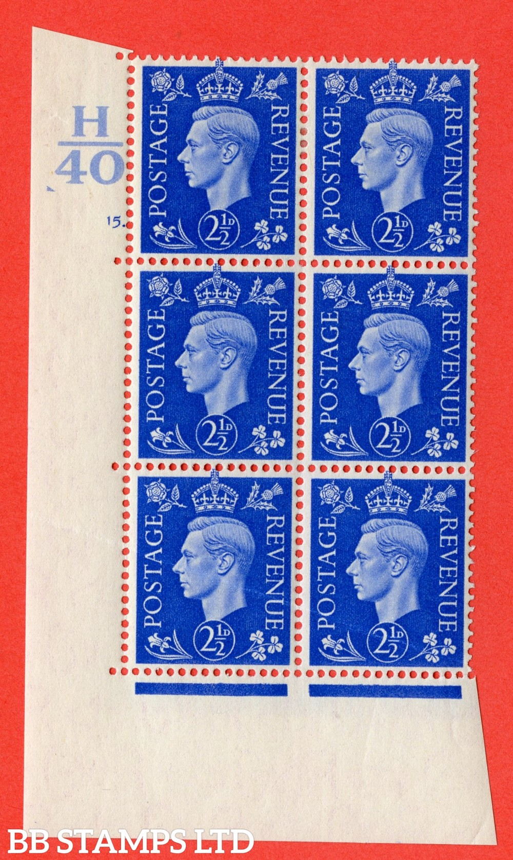 """SG. 466. d. Q13. 2½d Ultramarine.  A fine lightly mounted mint """" Control H40 cylinder 15 dot """" control block of 6 with perf type 5 E/I."""