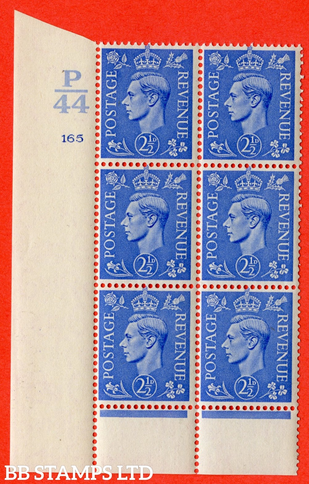 "SG. 489. Q14. 2½d Light ultramarine. A superb UNMOUNTED MINT "" Control P44 cylinder 165 no dot "" control block of 6 with perf type 6 I/P."