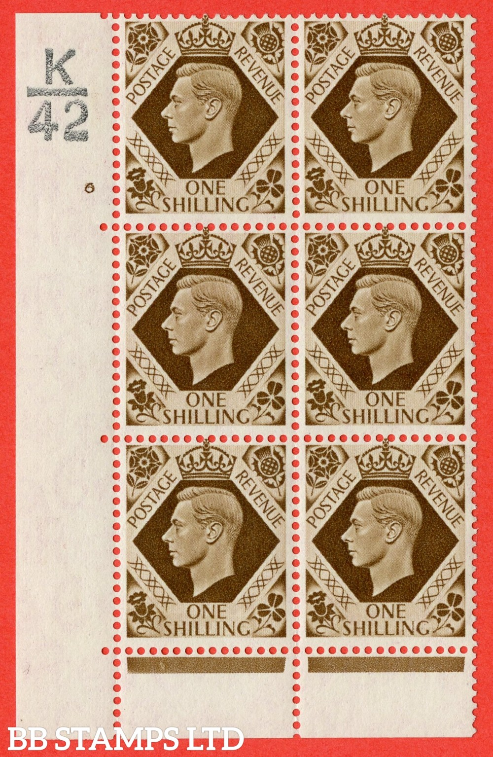 "SG. 475. Q28. 1/- Bistre-Brown. A fine lightly  mounted mint "" Control  K42 cylinder 6 no dot "" control block of 6 with perf type 6B E/P"
