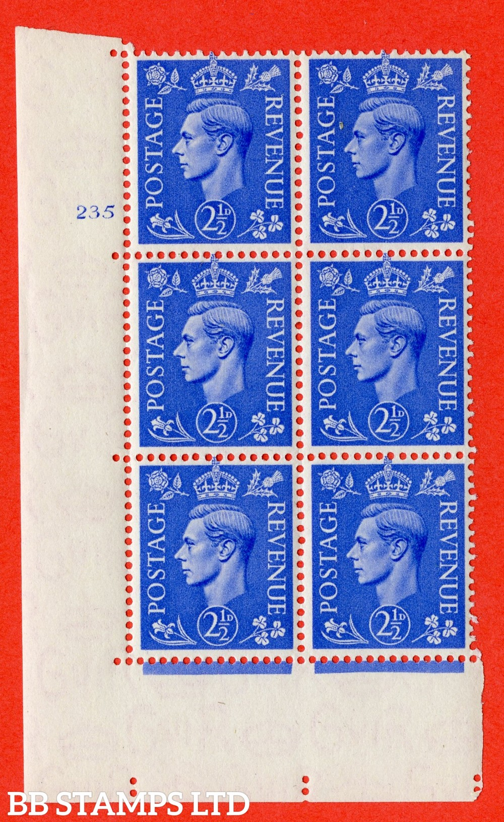 "SG. 489. Q14. 2½d Light ultramarine. A superb UNMOUNTED MINT "" No Control cylinder 235 no dot "" control block of 6 with perf type 5 E/I"