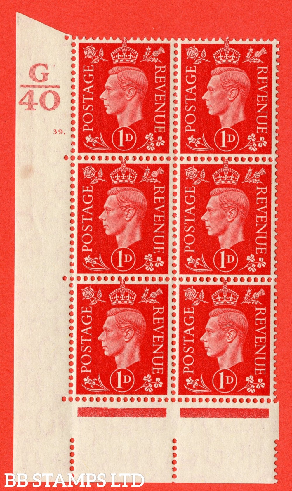 "SG. 463. Q4. 1d Scarlet. A superb UNMOUNTED MINT "" Control G40 cylinder 39 dot "" block of 6 with perf type 5 E/I with marginal rule."