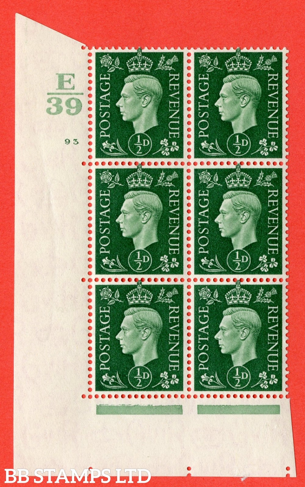 "SG. 462. Q1. ½d Green. A superb UNMOUNTED MINT "" Control E39 cylinder 93 no dot "" block of 6 with perf type 5 E/I with marginal rule."