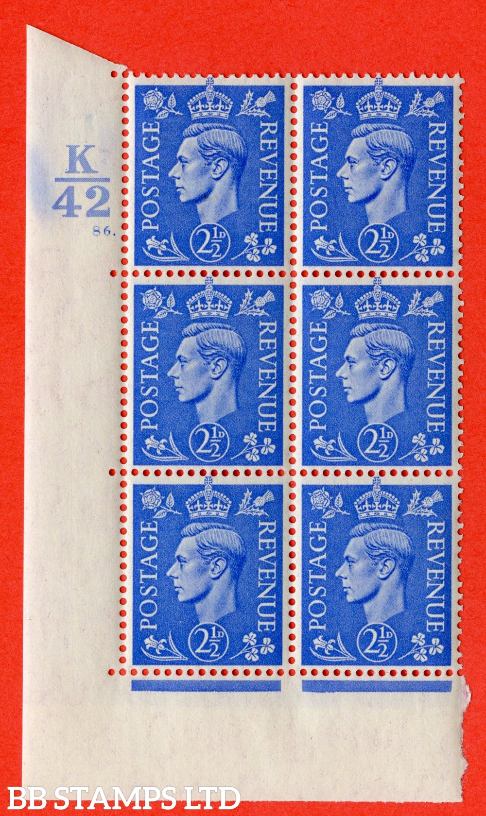 """SG. 489. Q14. 2½d Light ultramarine. A superb UNMOUNTED MINT """" Control K42 cylinder 86 dot """" control block of 6 with perf type 5 E/I."""