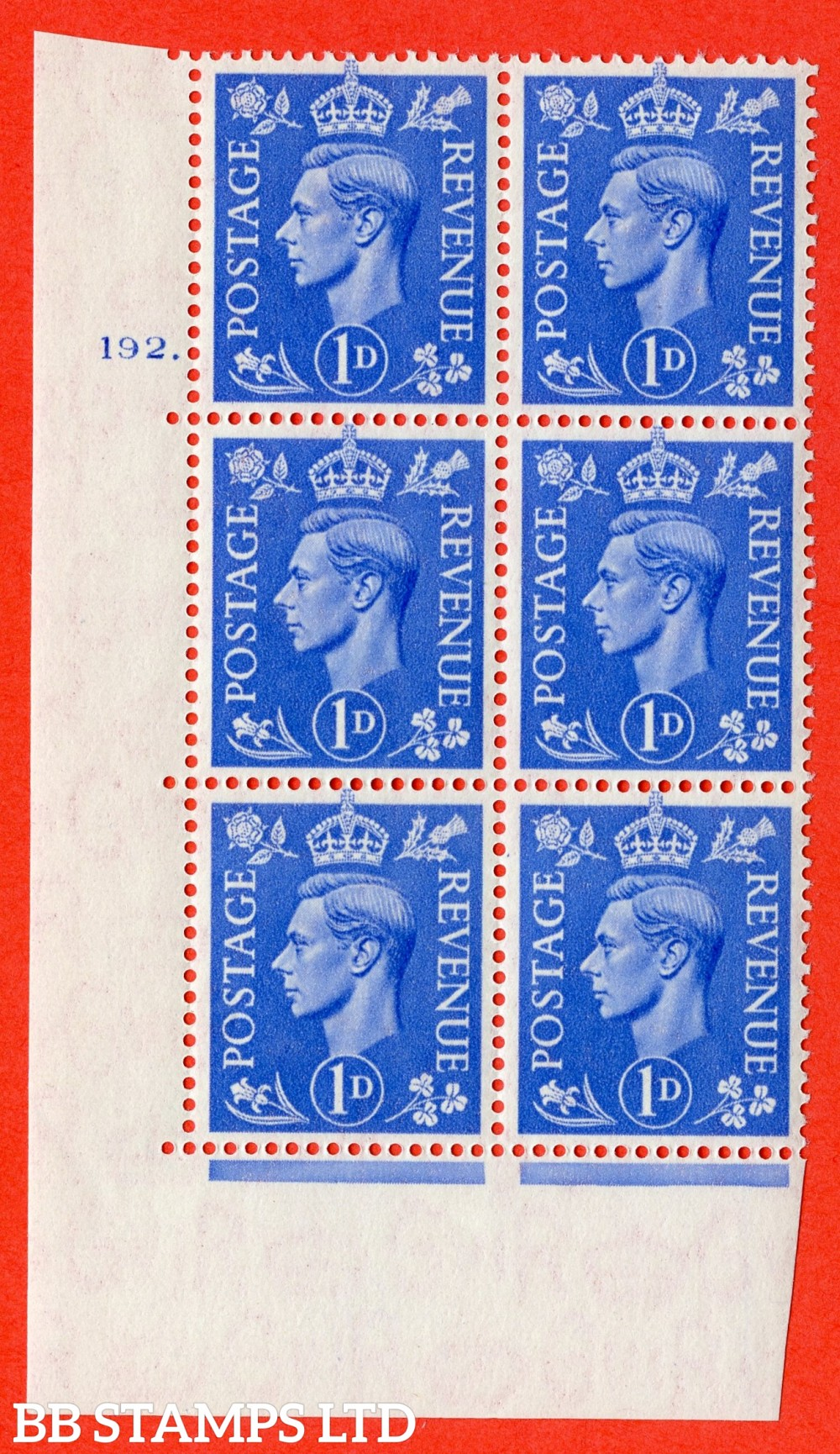 """SG. 504. Q6. 1d Light ultramarine. A superb UNMOUNTED MINT """" No Control cylinder 192 dot """" control block of 6 with perf type 5 E/I."""