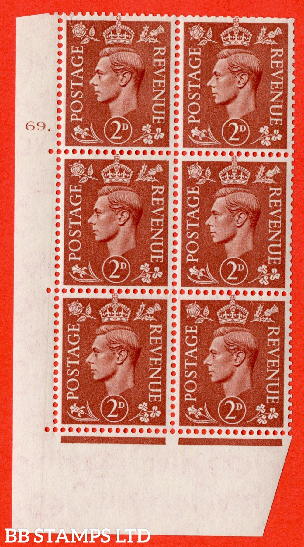 "SG. 506. Q12. 2d Pale Red-Brown. A superb UNMOUNTED MINT "" No Control cylinder 69 dot "" control block of 6 with perf type 5 E/I."
