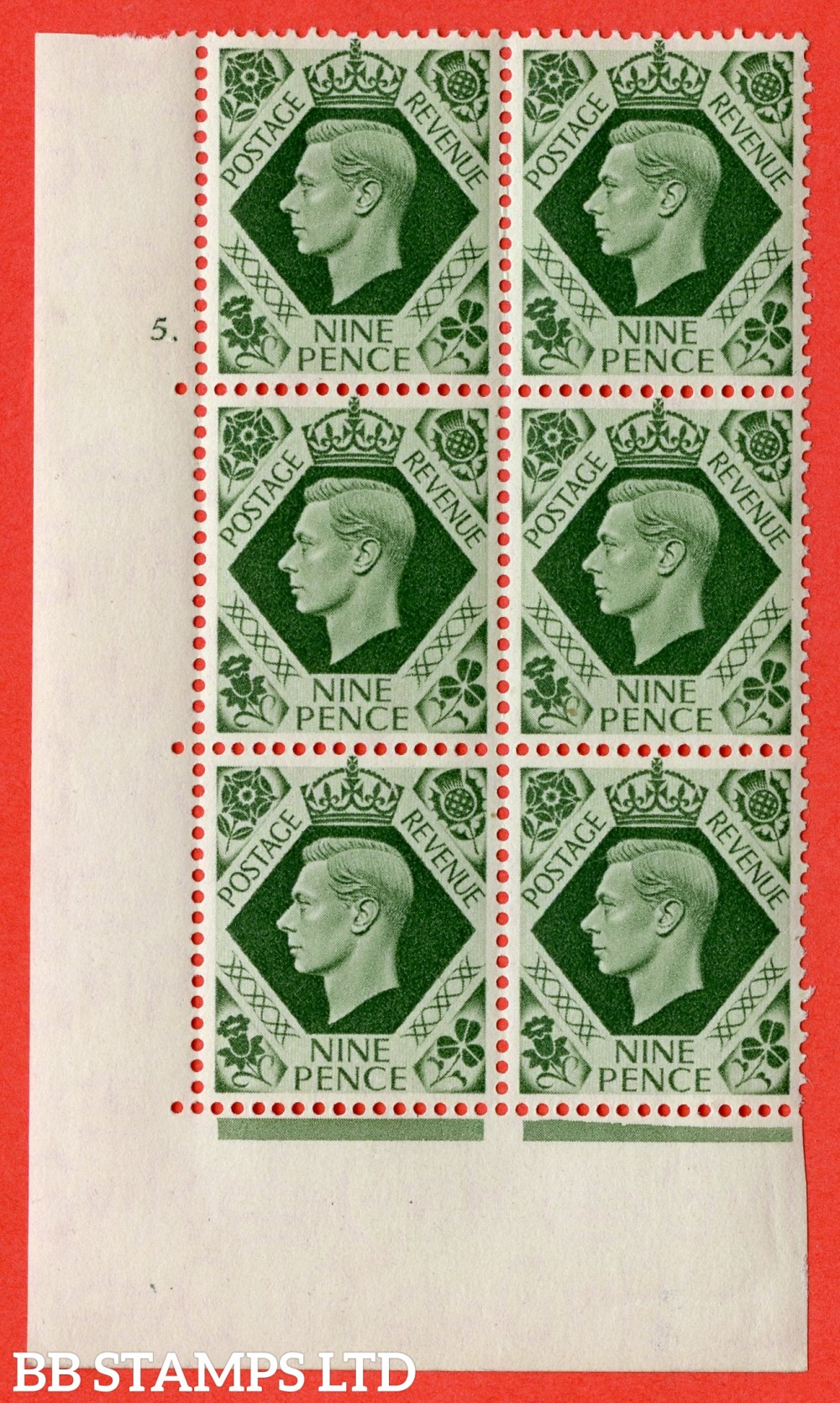 "SG. 473. Q25. 9d Olive-Green. A fine lightly mounted mint "" No Control cylinder 5 dot "" control block of 6 with perf type 5 E/I."