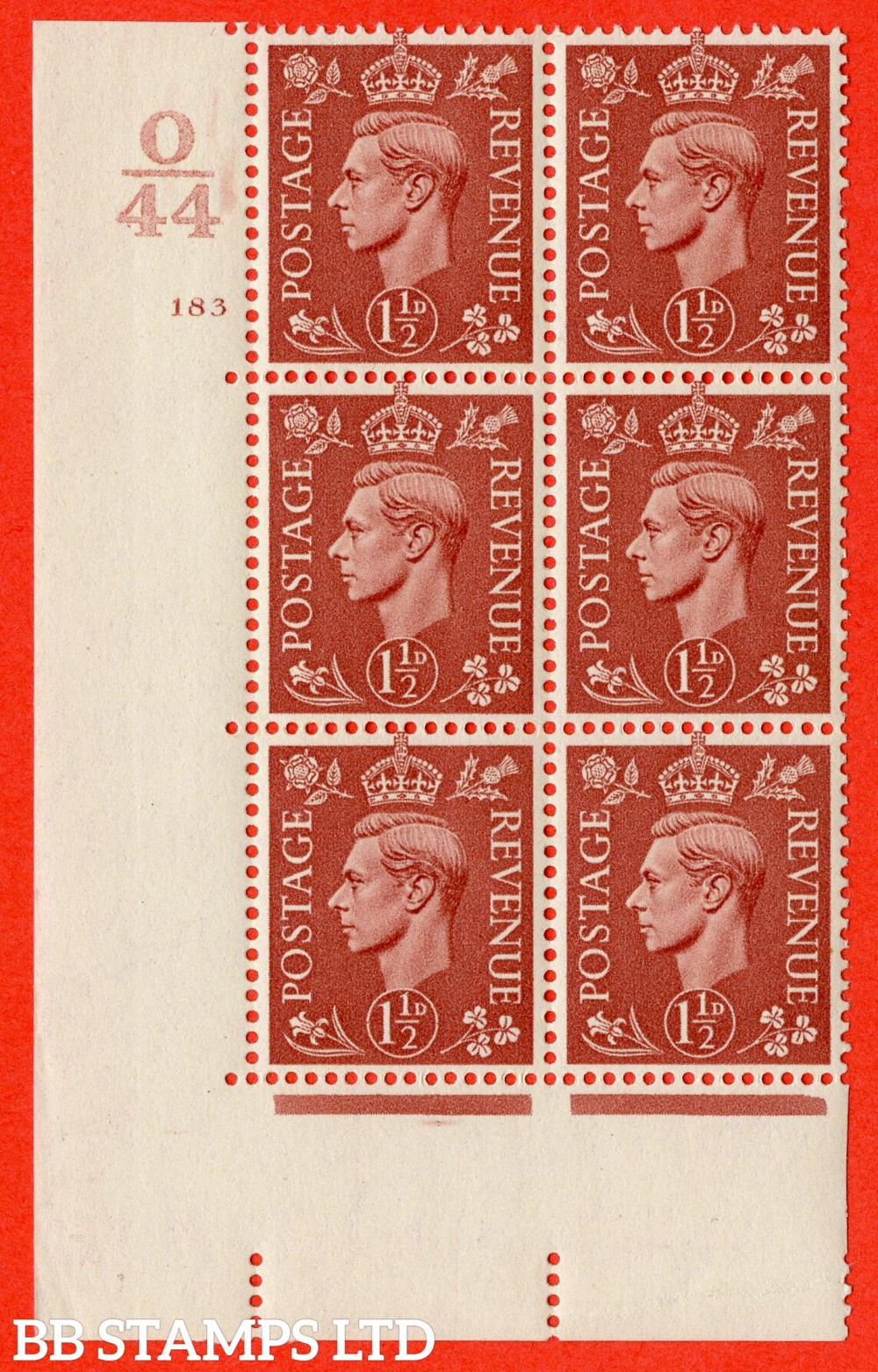 "SG. 487. Q8. 1½d Pale Red-Brown. A superb UNMOUNTED MINT "" Control O44 cylinder 183 no dot "" control block of 6 with perf type 5 E/I."