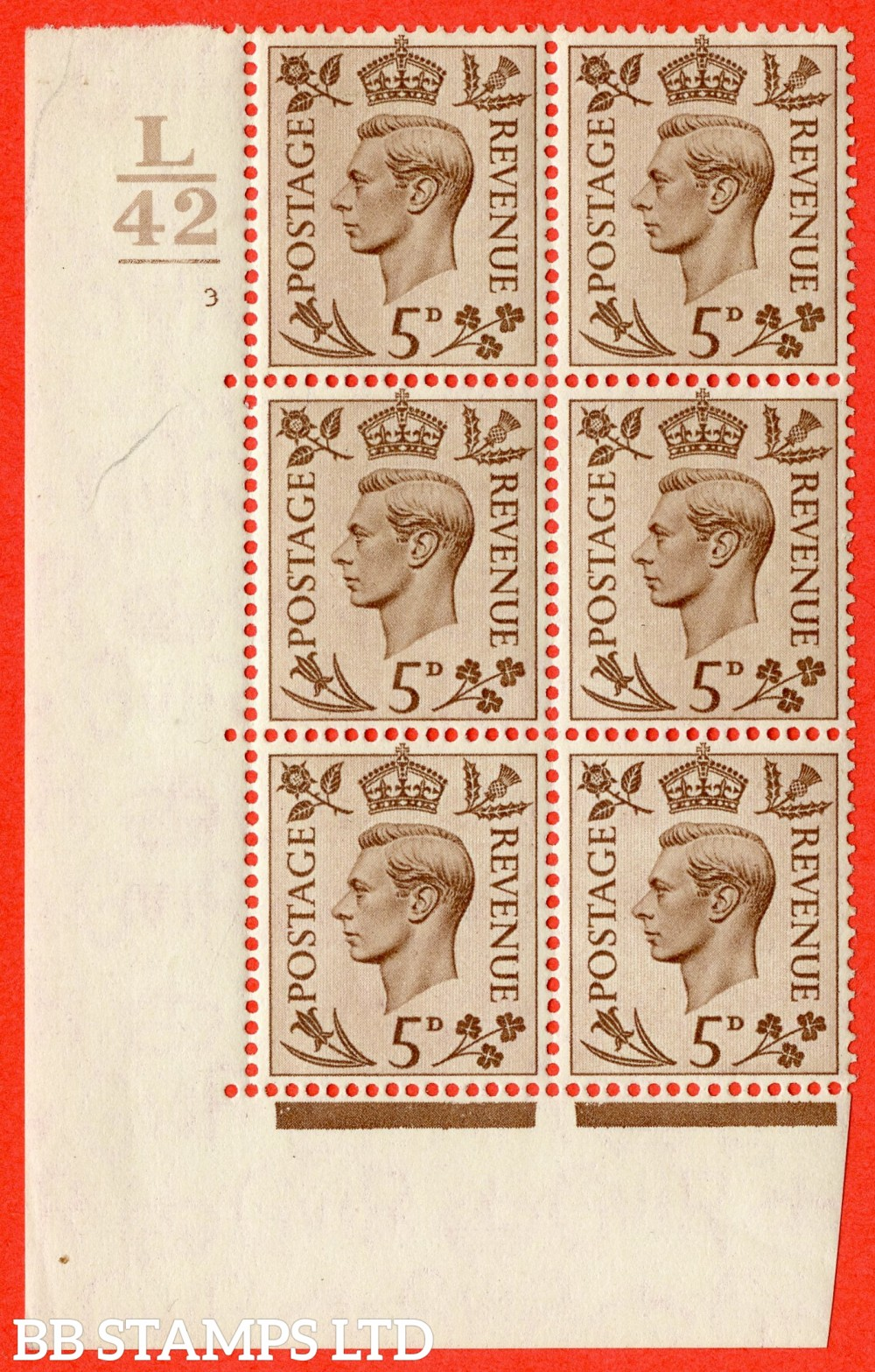 """SG. 469. Q21. 5d Brown. A superb UNMOUNTED MINT.  """" Control L42 1 Bar cylinder 3 no dot """" control block of 6 with perf type 5 E/I."""