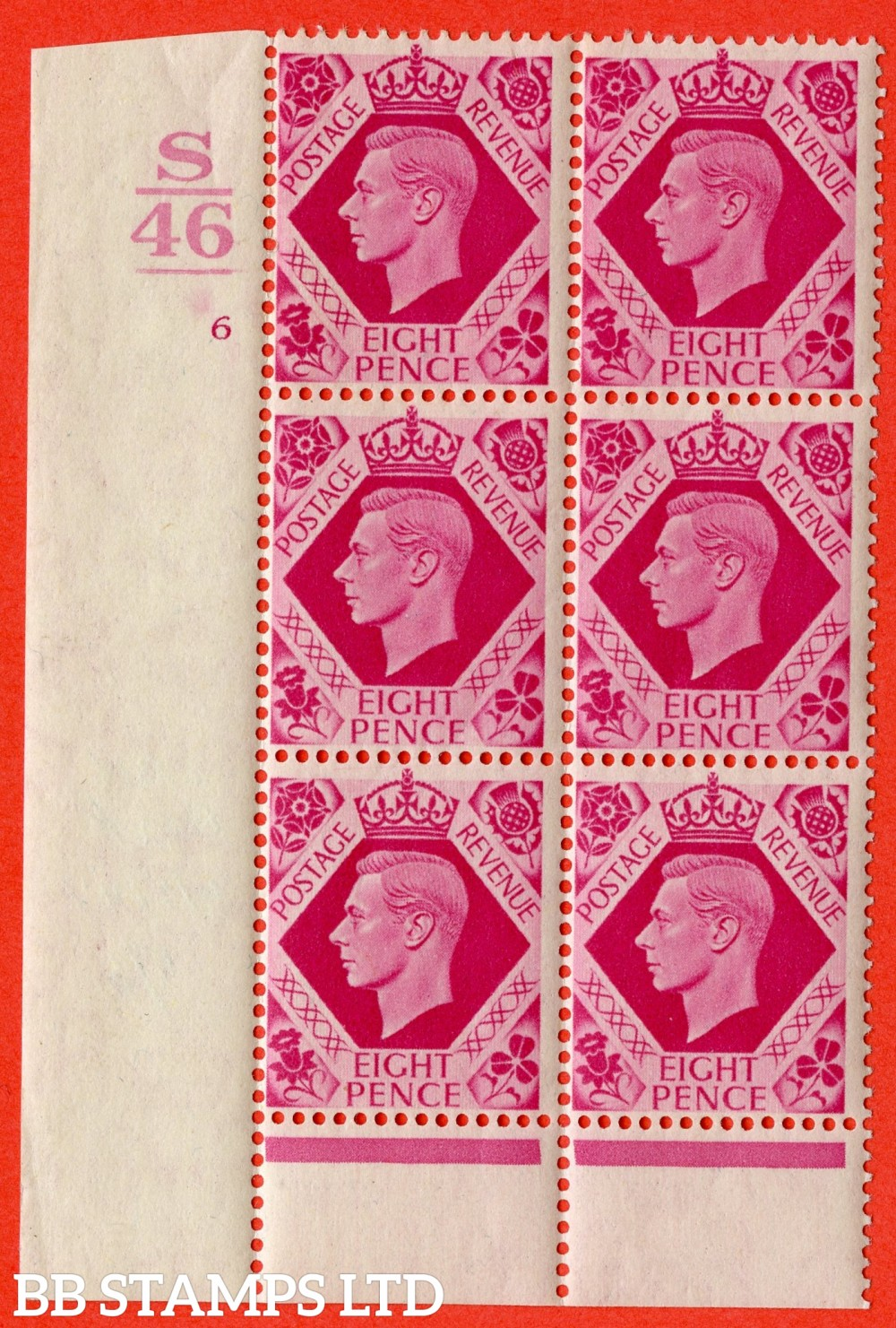 "SG. 472. Q24 b. 8d Carmine. A fine lightly mounted mint "" Control S46. 1 Bar. Cylinder 6 no dot "" control block of 6 with perf type 6 I/P with listed variety "" Hole in Leaf "" Row 20/1."