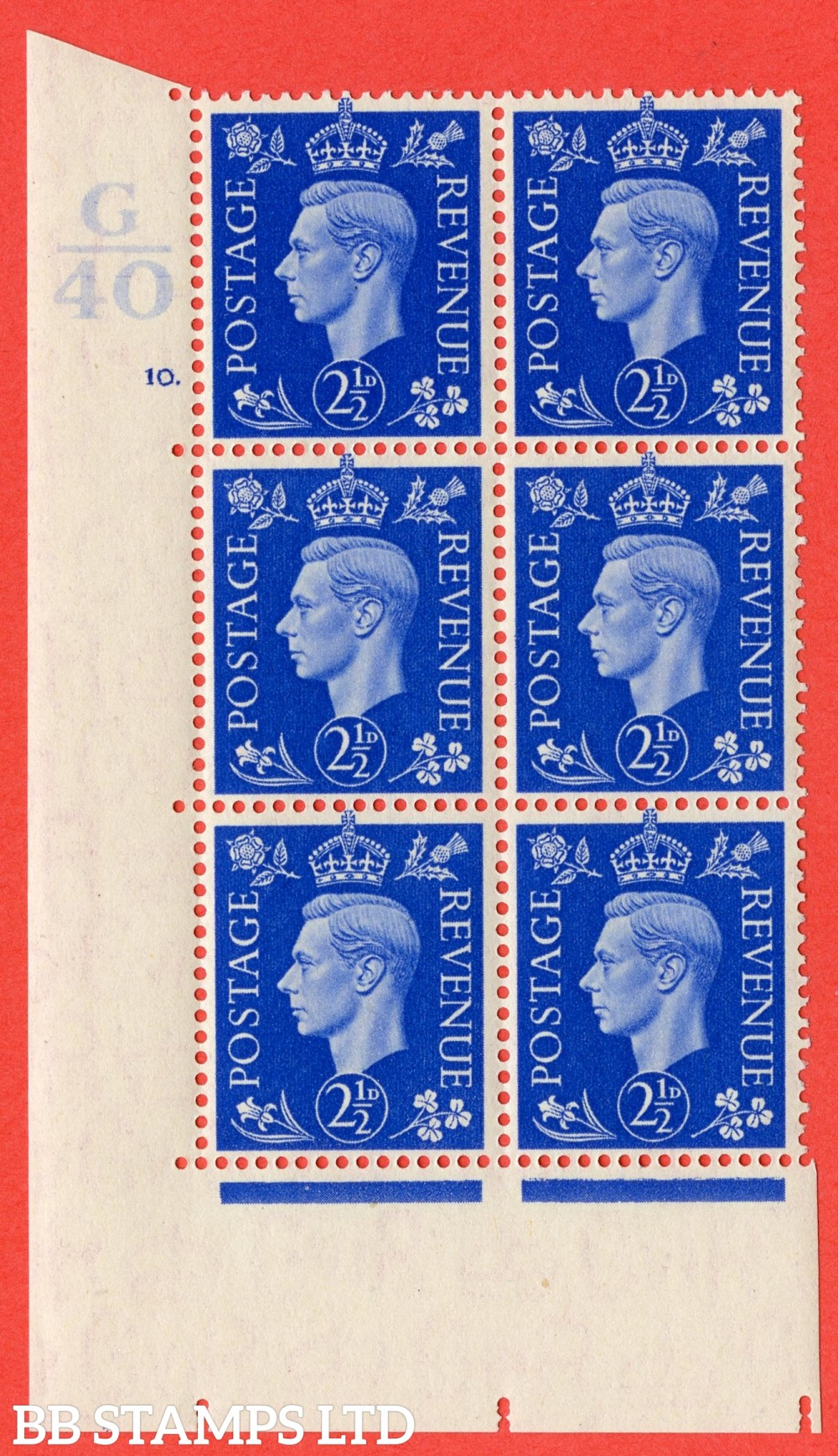 "SG. 466. Q13. 2½d Ultramarine. A superb UNMOUNTED MINT "" Control G40 cylinder 10 dot "" control block of 6 with perf type 5 E/I."