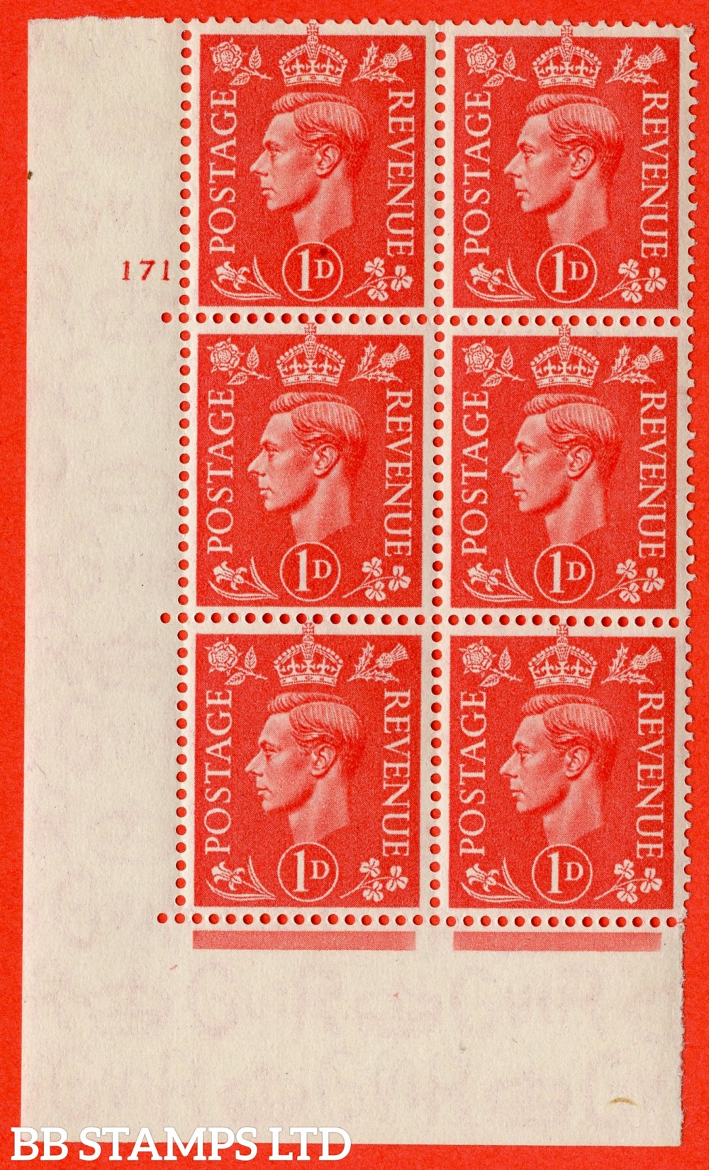 "SG. 486. Q5. 1d Pale scarlet. A superb UNMOUNTED MINT "" No Control   cylinder 171 no dot "" control block of 6 with perf type 5 E/I."