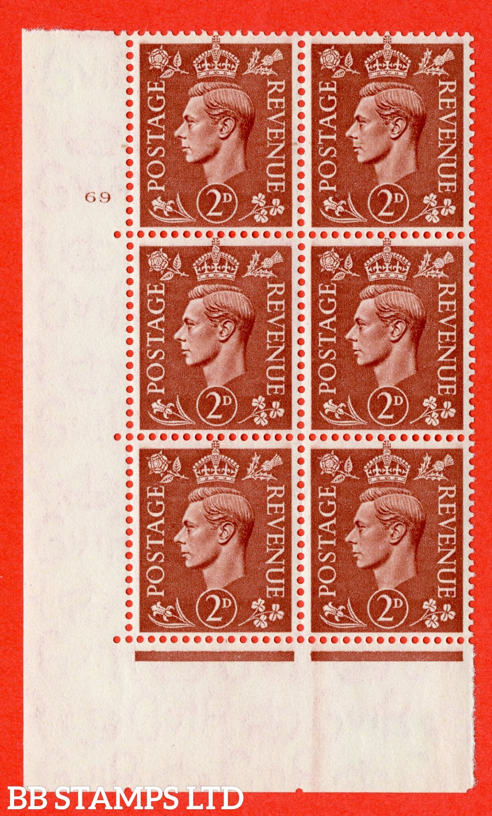 "SG. 506. Q12. 2d Pale Red-Brown. A fine lightly mounted mint "" No Control cylinder 69 no dot "" control block of 6 with perf type 5 E/I."