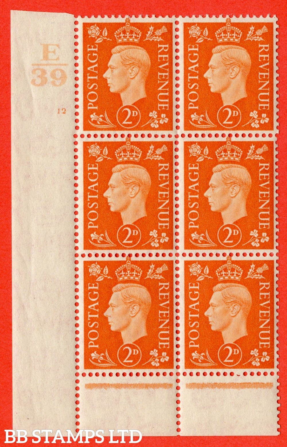 "SG. 465. Q10. 2d Orange. A fine lightly mounted mint "" Control E39 cylinder 12 no dot "" control block of 6 with perf type 6 I/P."