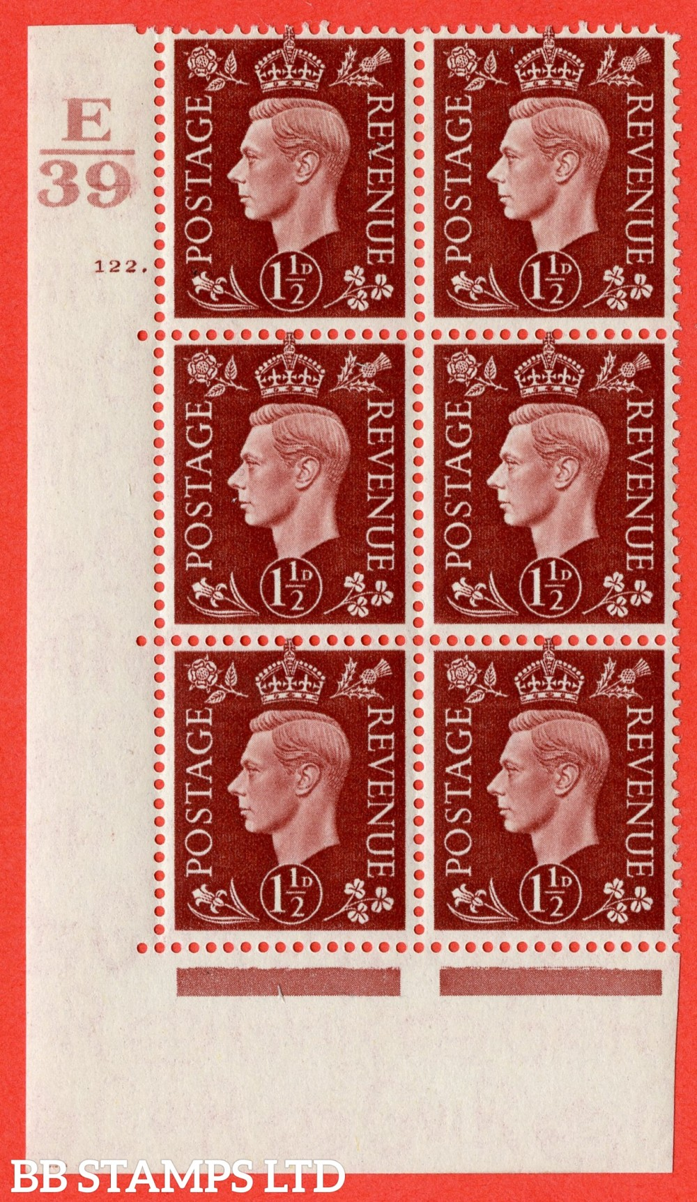 """SG. 464. Q7. 1½d Red-Brown. A fine lightly mounted mint """" Control E39 cylinder 122 dot """" block of 6 with perf type 5 E/I."""