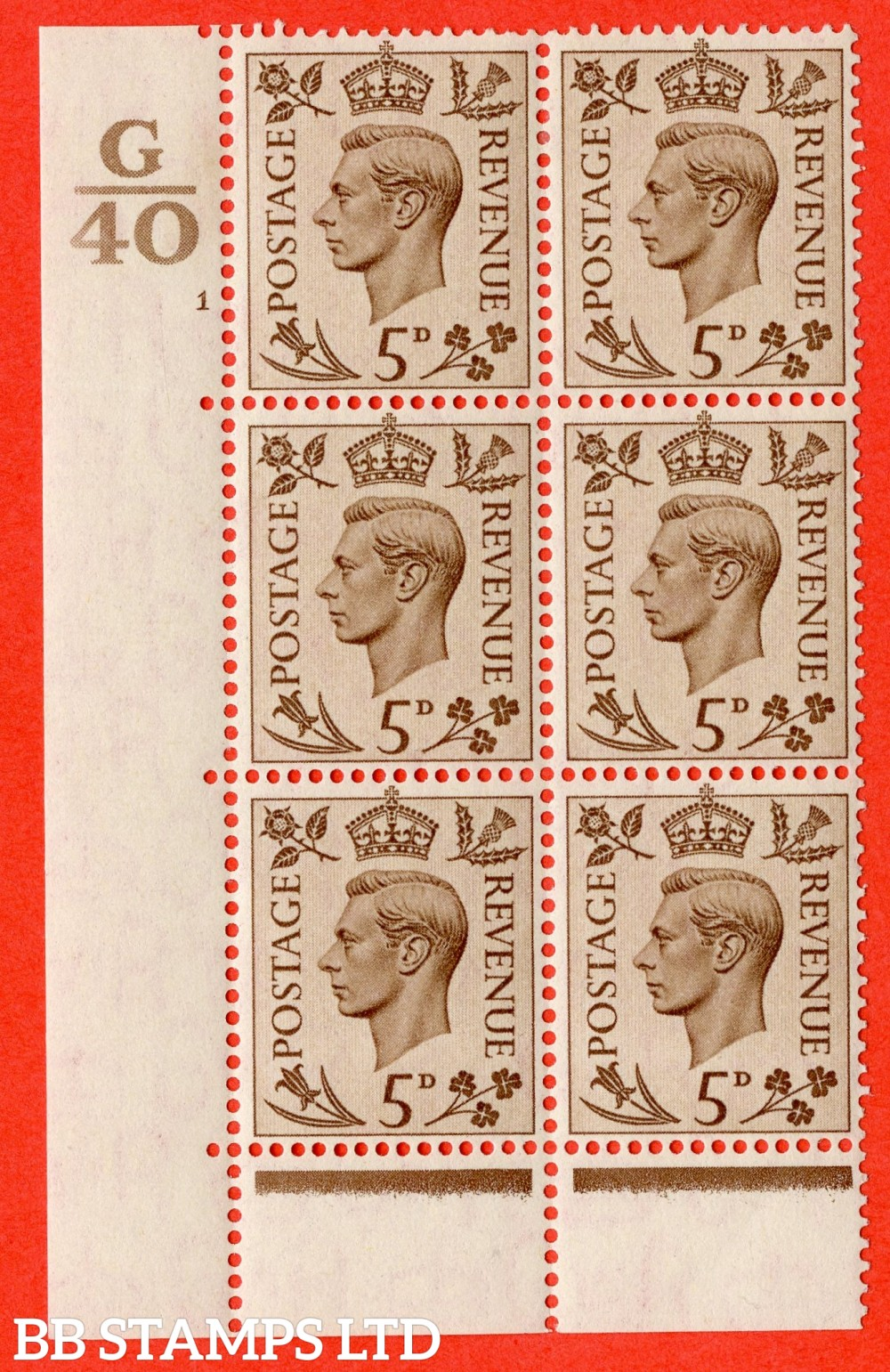 """SG. 469. Q21. 5d Brown. A fine lightly mounted mint.  """" Control G40 cylinder 1 no dot """" control block of 6 with perf type 6B E/P."""