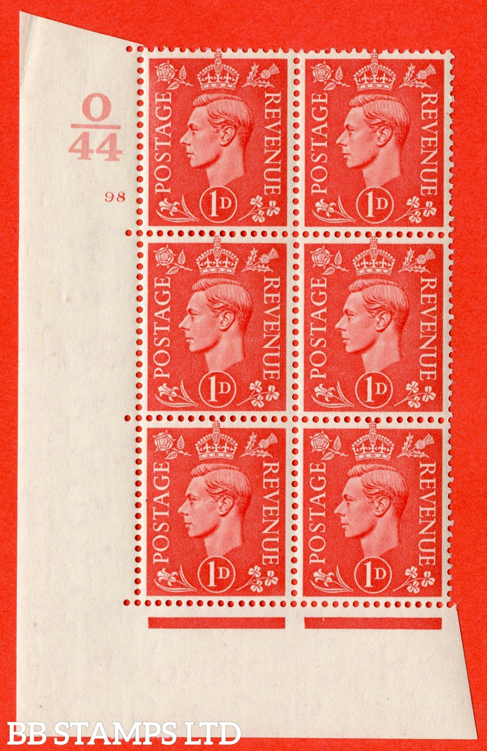 "SG. 486. Q5. 1d Pale scarlet. A fine lightly mounted mint "" Control O44  cylinder 98 no dot "" control block of 6 with perf type 5 E/I."
