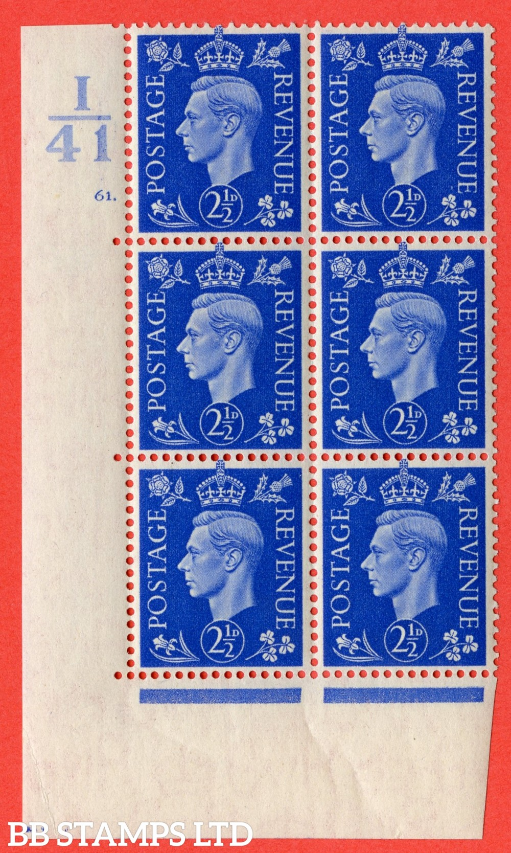 "SSG. 466. Q13. 2½d Ultramarine. A superb UNMOUNTED MINT "" Control I41 cylinder 61 dot "" control block of 6 with perf type 5 E/I."