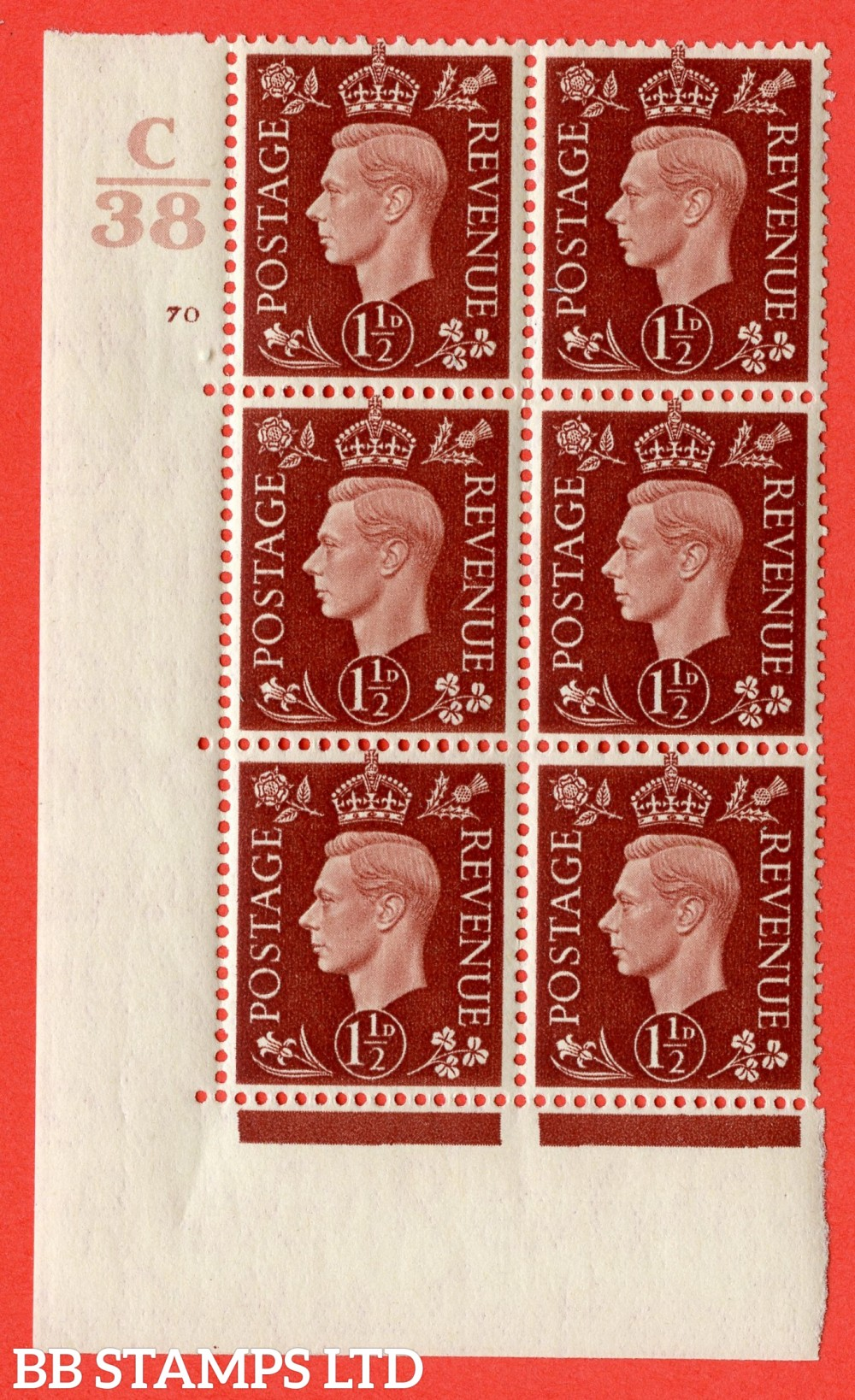 "SG. 464. Q7. 1½d Red-Brown. A superb UNMOUNTED MINT "" Control C38 cylinder 70 no dot "" block of 6 with perf type 5 E/I."