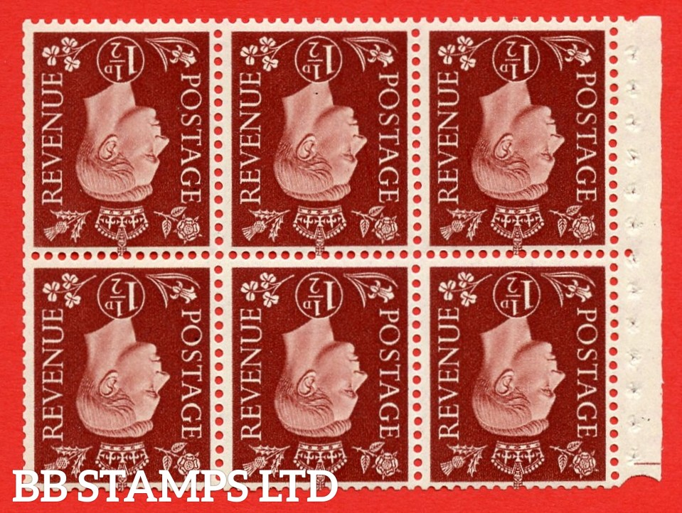 QB21a Perf Type E 1½d Red-Brown x 6 Pane, MOUNTED MINT Watermark Inverted. ( SG. 464cw ) Perf type E. Trimmed Perfs.
