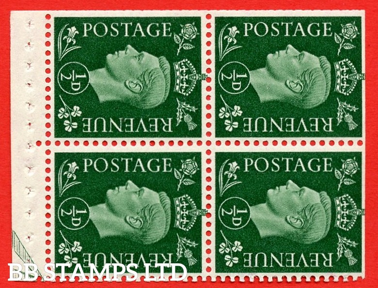 """SG. 462 ab. QB2a. ½d green. SIDEWAYS WATERMARK LEFT. A superb MOUNTED MINT complete booklet pane of Four. Perf type """" E """". Trimmed Perfs."""